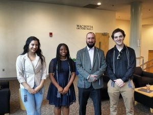 Picture of the 4 Psi Chi officers for 2018-2019 (Kestyn Harris, Courtney Pittman, David Harp, & David Tripp)